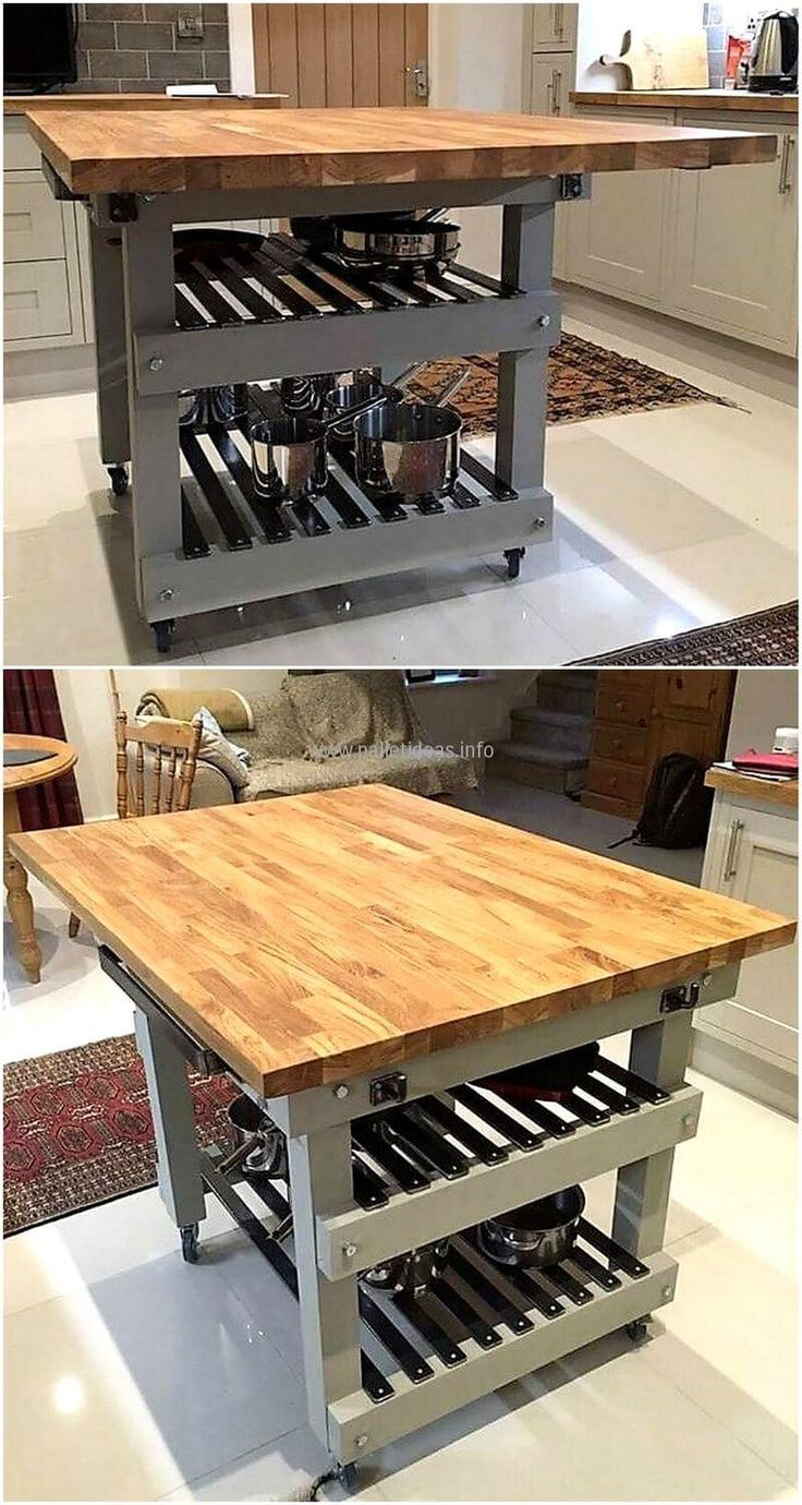 Now here is an idea for the kitchen requirement the reclaimed wood pallet kitchen island