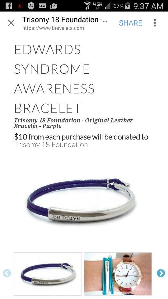 {Be Brave} by Bravelets, Edwards syndrome awareness bracelet.... Mothers day gift.