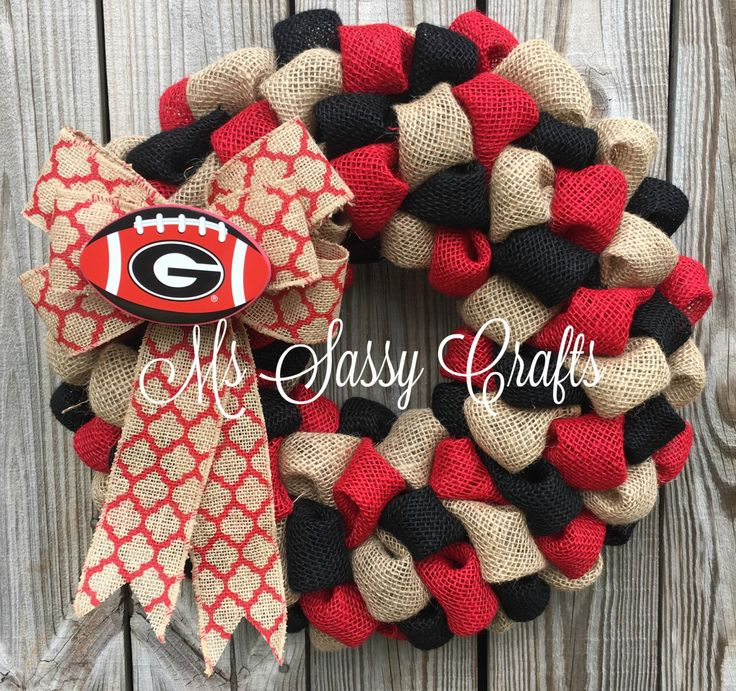 UGA Burlap Wreath - Georgia Burlap Wreath - University of Georgia Wreath…