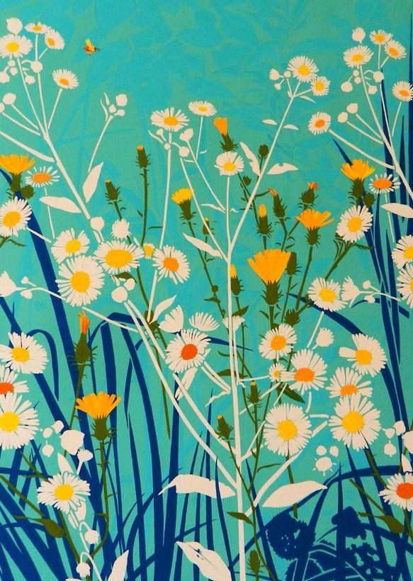 Daisy print illustration blue yellow turquoise