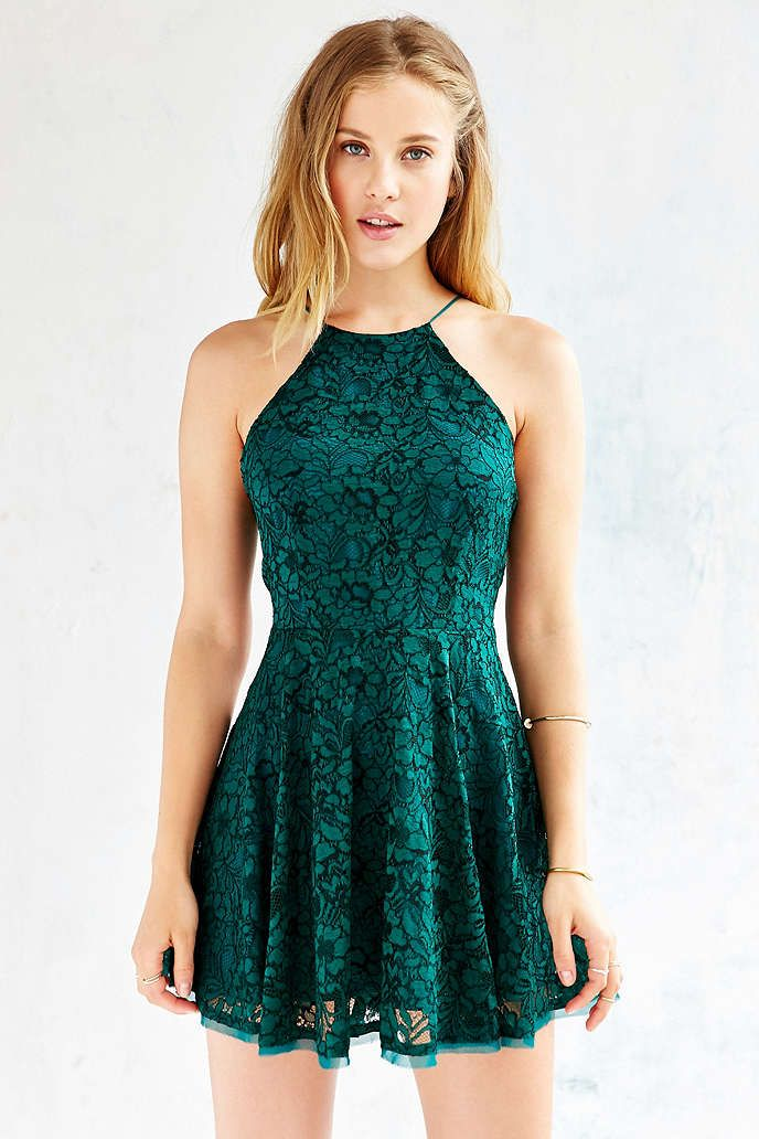85f5e04700 Kimchi Blue Lorraine High-Neck Fit + Flare Dress - Urban Outfitters ...