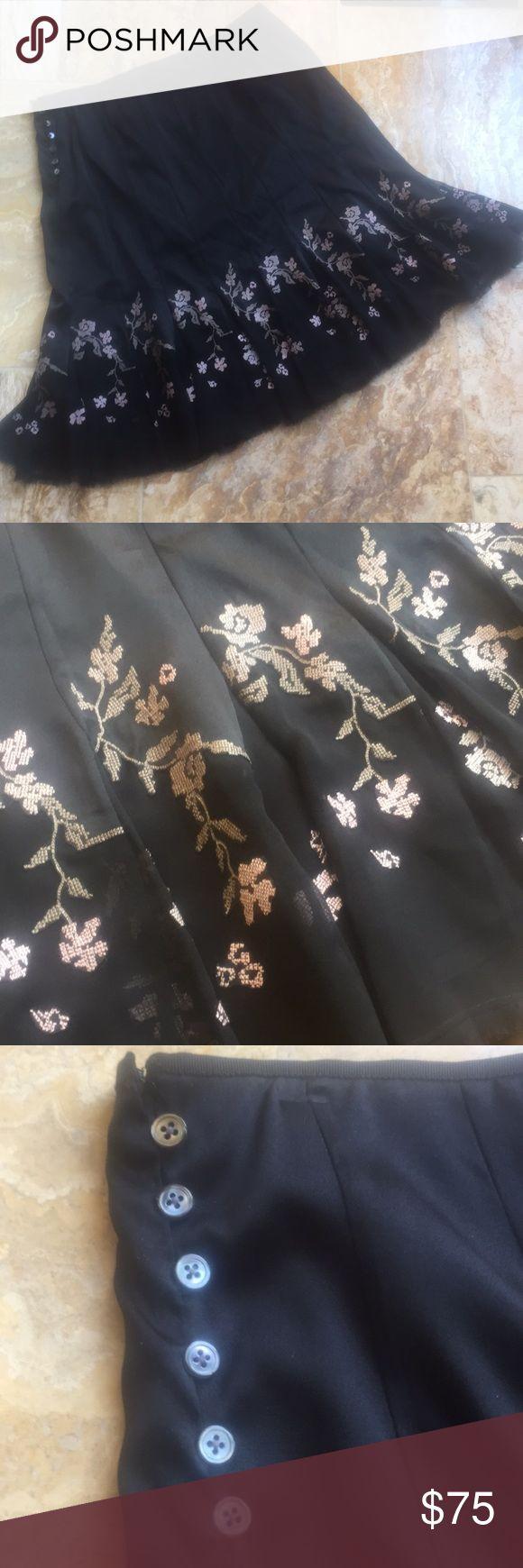 Elie Tahari full silk/Lycra skirt w/fringe hem Beautiful embroidery look front and back, lovely silk overskirt w/ fringe hem. Side buttons and extra buttons inside. Hook and clasp top Elie Tahari Skirts