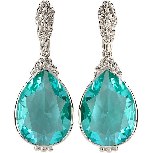Judith Ripka Bermuda Pear-Cut Spinel Drop Earrings ($263) ❤ liked on Polyvore featuring jewelry, earrings, green, pear shape earrings, judith ripka, clip on drop earrings, bezel set earrings and spinel earrings