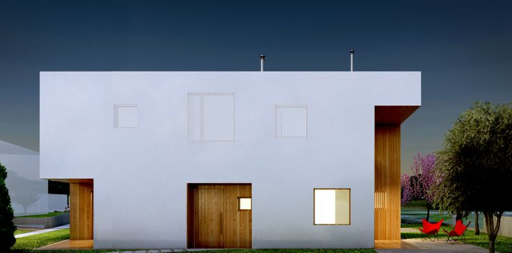 Cubic Housing - exterior volume - night - LoT Office for Architecture