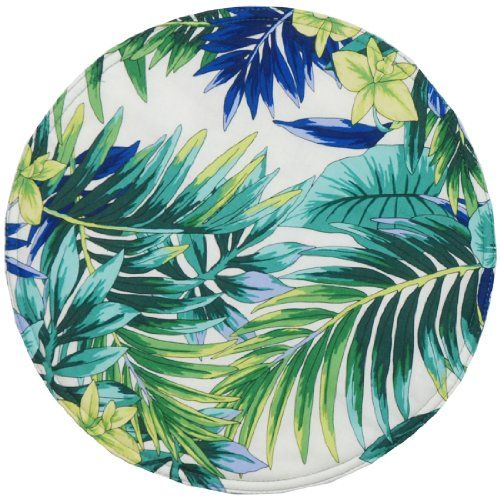 Blue and Green Palm Leaf Tropical Charger-Center Round Placemat