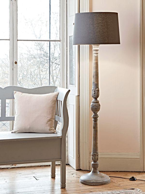 NEW Elegant Grey Wooden Floor Lamp