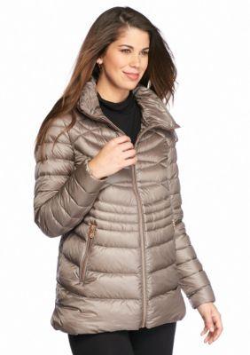 Bernardo Women's Quilted Packable Jacket With Hood - Gray - Xs