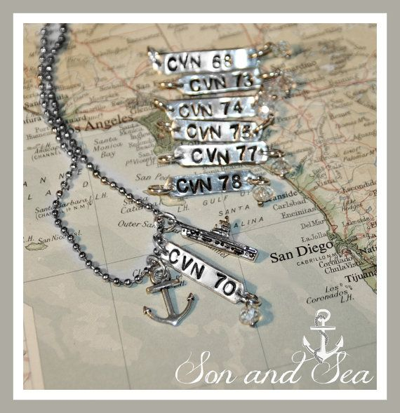 US Navy Aircraft Carrier hand stamped necklace with by sonandsea, $24.00