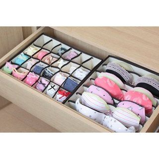 Neatly store and organize underwear, socks, neck ties or bras with these flexible fabric drawer dividers. These dividers will maximize drawer space and provide a more efficient way of storing clothing