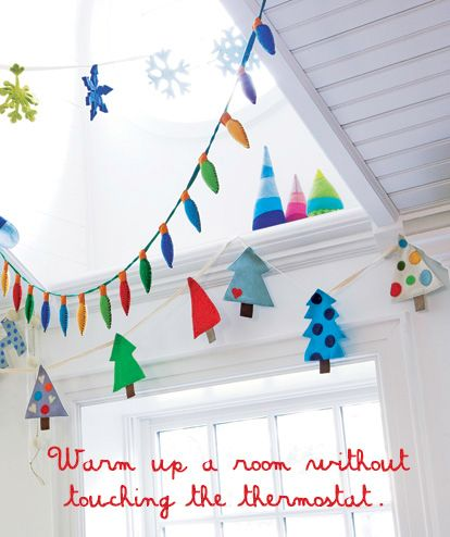 cute christmas decorations for kids room, felt tree, snowflake, and lights garland...totally going to knock this off :)