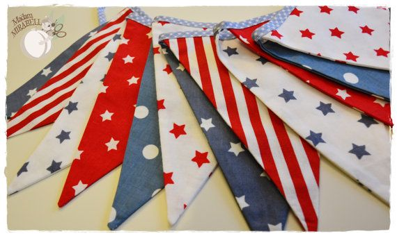 American Dream Garland - Bunting Banner . Flag Bunting . Pennant Banner . Flag Garland . Party Decoration . Fabric Bunting .
