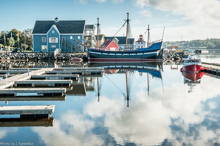 """Pictou waterfront with a replica tall ship, """"The Hector"""" used by Scottish immigrants to travel to Nova Scotia"""