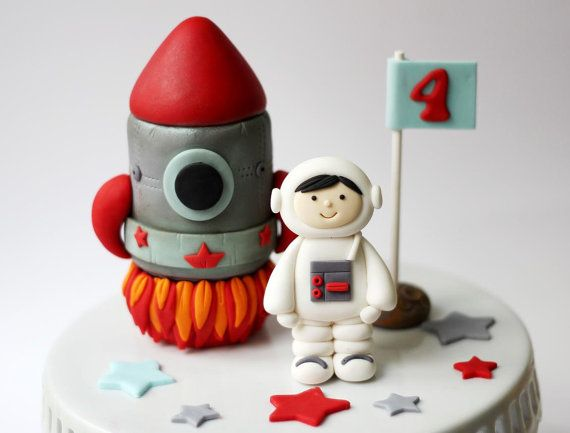 Fondant Rocket Ship and Astronaut Cake Topper Set by LesPopSweets