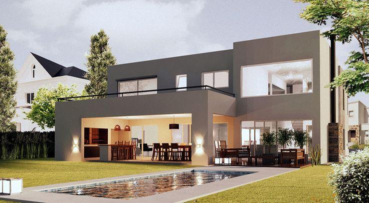Modern home modern home pinterest fachadas casas y for Casas alargadas