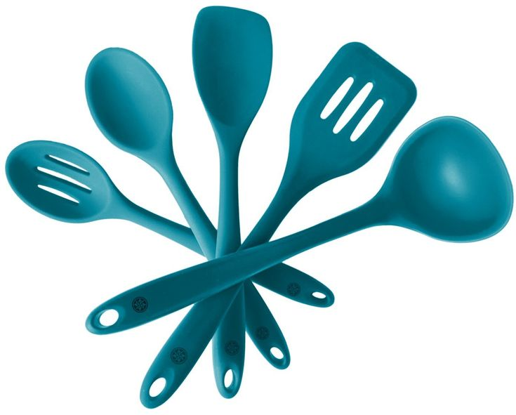StarPack Premium Silicone Kitchen Utensil Set (5 Piece) in Hygienic Solid Coating + Bonus 101 Cooking Tips (Teal Blue): Amazon.ca: Home & Kitchen