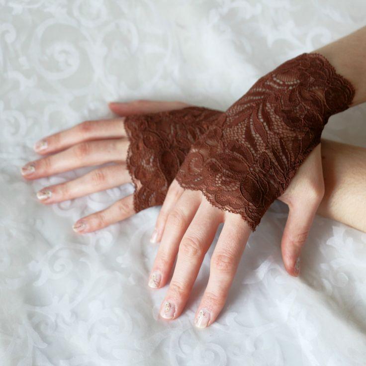 Fingerless gloves brown short steampunk floral burlesque by AlicesLittleRabbit on Etsy