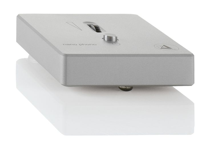 The Clearaudio Nano v2, along with the Smart Phono v2, now has a gain attenuator, conveniently located on top, allowing precise level matching between phono and other line inputs. A power on/off button, also located on top of the chassis, is another new feature on both the Nano v2 and Smart Phono v2.