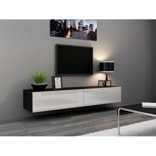Chloe Decoration - Meuble tv design suspendu Vito 180cm noir et blanc - pas cher Achat / Vente Meubles TV, Hi-Fi - RueDuCommerce