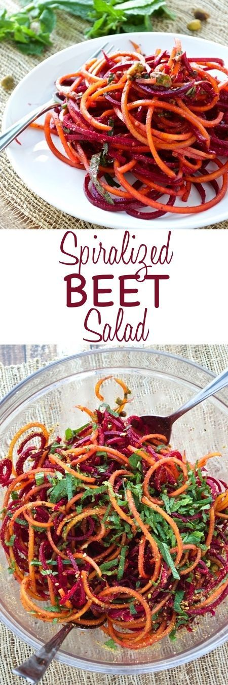 Spiralized Beet Salad ~ Fresh beets are made into noodles, tossed with a simple orange vinaigrette, and topped with fresh mint and pistachios. Perfect light salad!