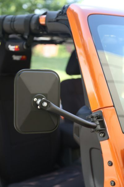 Rugged Ridge Rectangular Quick Release Mirror Kit in Textured Black | Jeep Parts and Accessories | Quadratec
