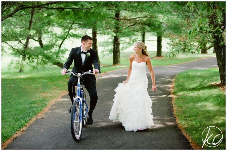 NJ Wedding Photographer   Eagle Oaks Country Club   Farmingdale NJ   Kate Connolly Photography   www.kateconnollyblog.com   bicycle   bride  groom