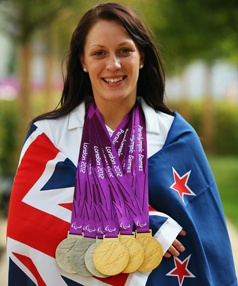 Sophie Pascoe from New Zealand. Won multiple medals in both 2008 and 2012 Paralympics. Can any other NZ athlete boast as many medals? I think not!
