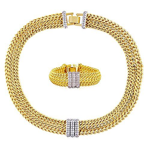 "Fashionvictime - Woman Set - """"Madam"""" - 18Ct Gold Plated Silver - Cubic Zirconia - Jewellery - Sale Valentine'S Day"""