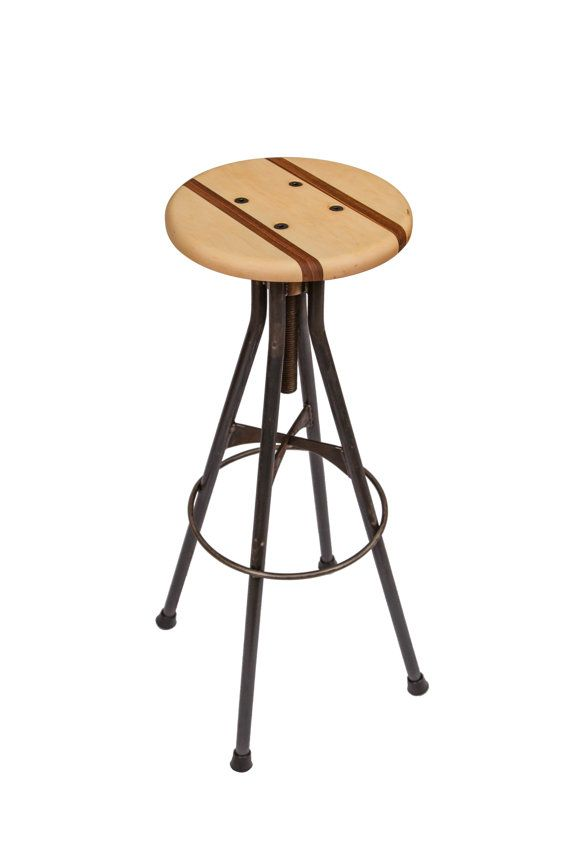 Wood And Steel Bar Stool Adjustable Drafting Style Ff