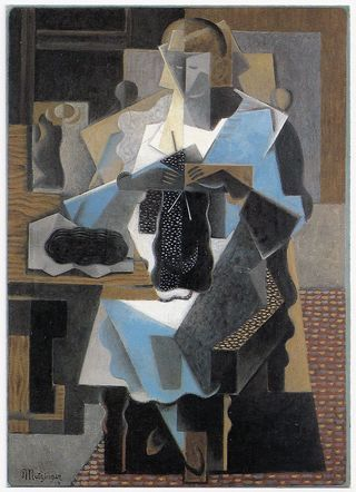 La Tricoteuse (Knitting Woman) painted by Jean Metzinger in 1919
