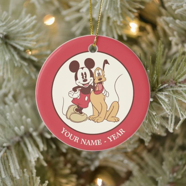 Classic Mickey Pluto Add Your Name Ceramic Ornament Zazzle Com Ceramic Ornaments Ornaments Personalized Holiday