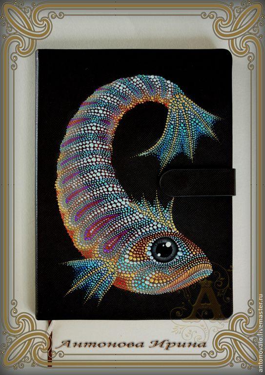 """Купить Ежедневник-""""Рыба"""" - коричневый, ежедневник, ежедневник в подарок, для рабочего стола, для записей, для работы, рыба"""