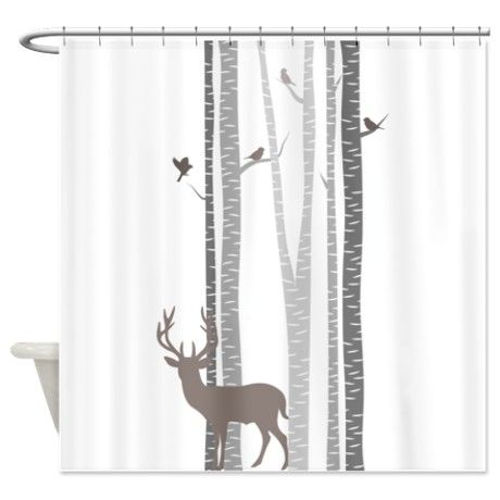 Birch Trees With Deer Shower Curtain | Deer Shower Curtain, Birch And Bath