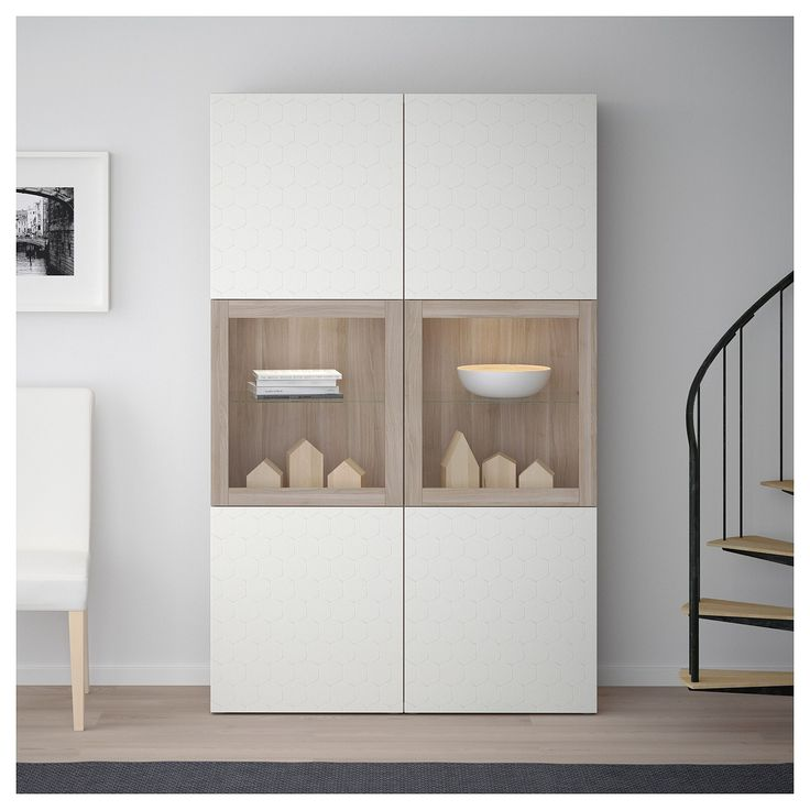 BESTÅ Storage combination w/glass doors, walnut effect light gray Selsviken, high-gloss/light gray-green clear glass