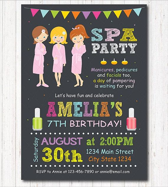 Spa Birthday Invitation Sleepover invitation Slumber party