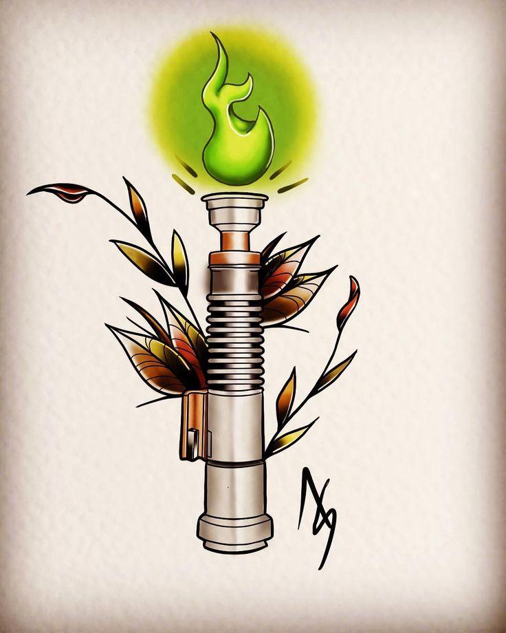 Something for May the 4th!!! Had fun doing this!! #starwars #lightsaber #procreate #drawing #ipadart #tattoo #digitalpaint  #neotraditional #tattooartwork #lukeskywalker