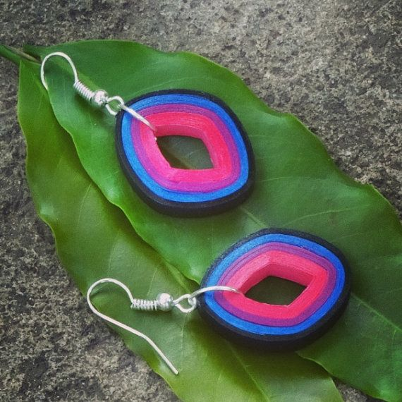 Multicolored fashionable Earrings with Pink, Purple, Blue, Black strips