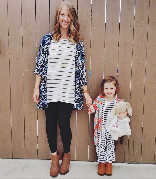 Mommy in a Lindsay kimono and daughter in a