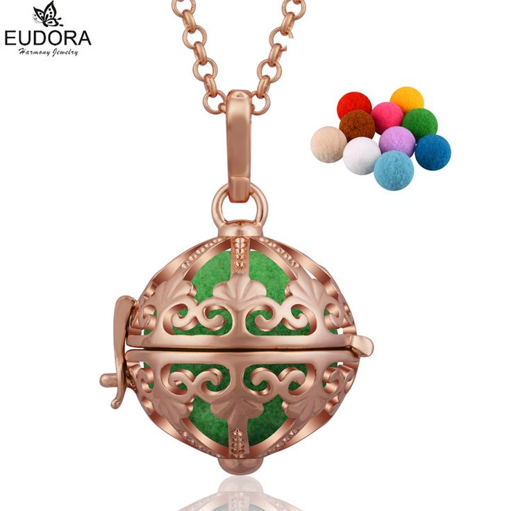 Eudora Harmony Bola Aromatherapy Diffuser Locket Angel Caller Pendant Necklace DIY Maternity Jewelry Gift With Pompon Ball