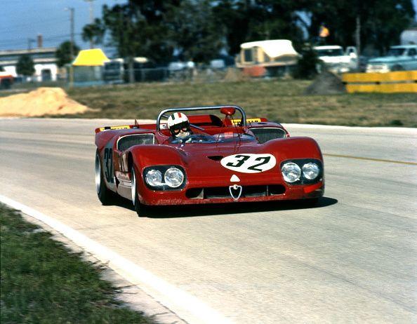 Andrea de AdamichHenri PescaroloNino Vaccarella's Alfa Romeo T33/3 finished 3rd in 12hr race Sebring florida USA 20 March 1971