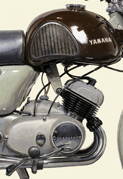 one of many beautiful motorcycle paintings by Kendge Seevert this is a detail shot of a1958 YAMAHA YD-1