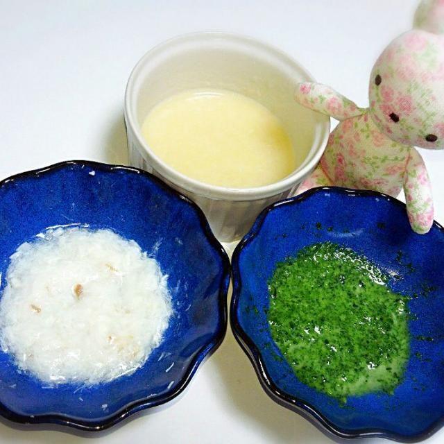 おかゆ 鯛のとろみあんかけ ほうれん草のミルク煮  離乳食二ヶ月半経過(*^^*) あげすぎかしら? こんなんでいいのかもよくわからない…(=_=;) 誰か教えてくださいー! - 5件のもぐもぐ - 《離乳食*初期》⑦ヶ月のお嬢の晩ご飯♬ by Michiko  Araki