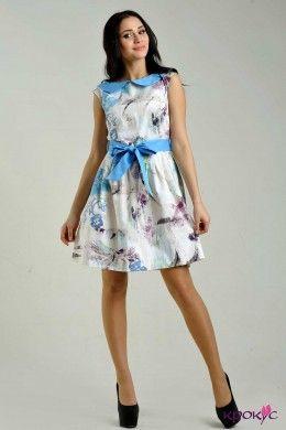 Атласное платье с поясом и воротничком