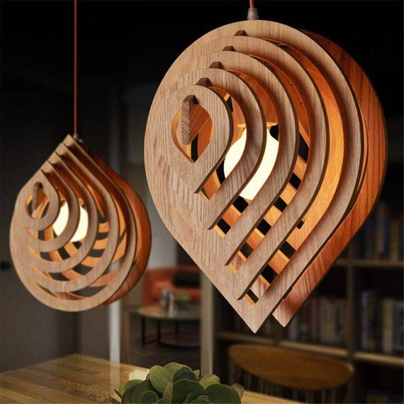 Wooden lamp drops of water. Original hanging lamp. Vector plan for laser cutting CNC