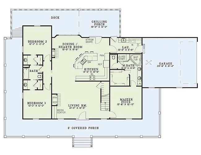Farmhouse 3 Beds 3 Baths 1921 Sq/Ft Plan #17-415 Main Floor Plan - Houseplans.com