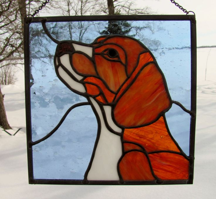 Cute little Beagle in Stained Glass