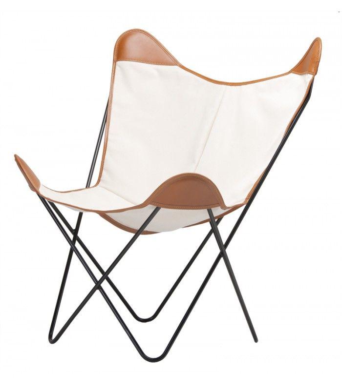 La silla bkf o silla butterfly en tela de lona cruda y cuero