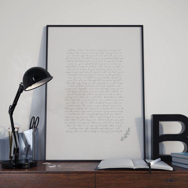 Wedding Vow Art: Custom Designed, Wedding Vow Calligraphy, Wedding Keepsake, Wedding Vow Print, Wedding Vow Wall Art, Bohemain Vow Art by AmaviStudio on Etsy