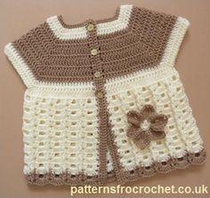 Free baby crochet pattern for Summer coat http://patternsforcrochet.co.uk/summer-coat-usa.html #patternsforcrochet #freebabycrochetpatterns