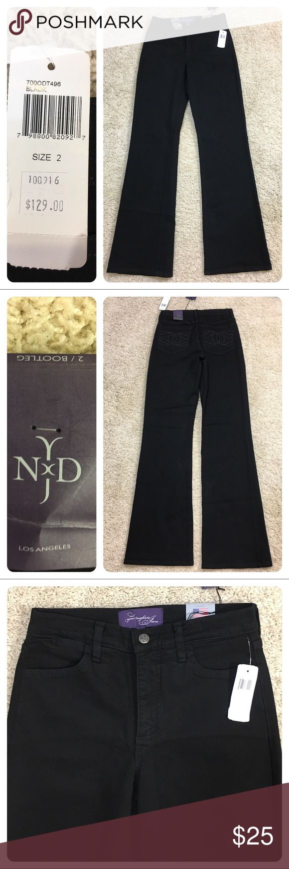 NWT! NYDJ black bootcut jeans New with tags. Not Your Daughters Jeans bootcut black jeans. Great lift tick technology. Super flattering. Tiny snag on back bottom of jeans. NYDJ Jeans Boot Cut