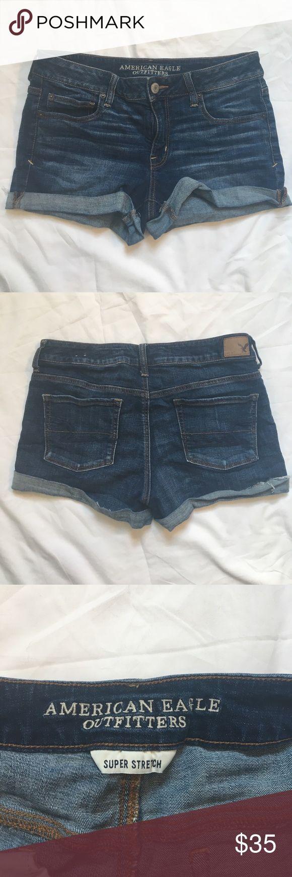 American Eagle Hi-Rise Super Stretch Jean shorts size 12 super stretch American Eagle Outfitters Shorts Jean Shorts